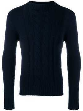 Tagliatore mock neck cable knit sweater - Blue