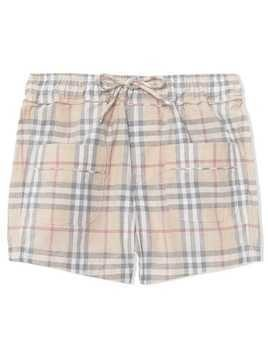 Burberry Kids Check Cotton Shorts - Grey