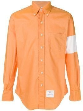 Thom Browne classic collared shirt with color-blocked arm band - Yellow & Orange
