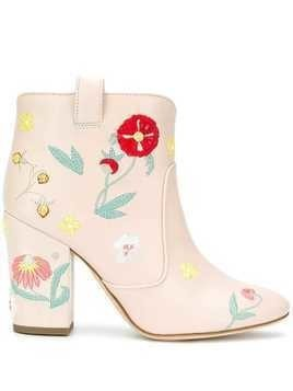 Laurence Dacade floral embroidered ankle boots - Pink