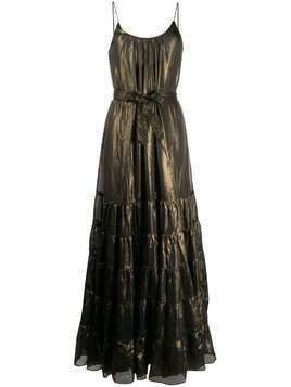 Mes Demoiselles metallic flared gown - Brown