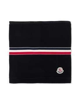 Moncler Kids tricolor-stripe scarf - Black