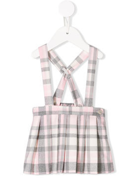 Il Gufo checked pleated suspender skirt - Pink & Purple
