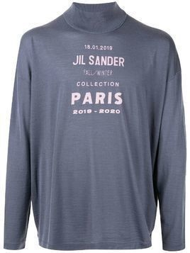 Jil Sander printed logo knitted jumper - Grey