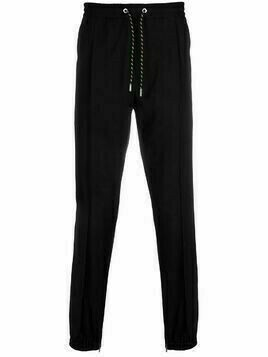 Christian Dior pre-owned drawstring straight-leg trousers - Black