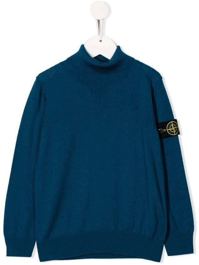 Stone Island Junior knitted roll neck jumper - Blue