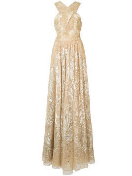 Marchesa Notte floral bead embellished gown - Yellow