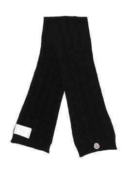 Moncler Kids cable knit scarf - Black