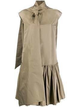 Rochas neck tie shirt dress - Brown