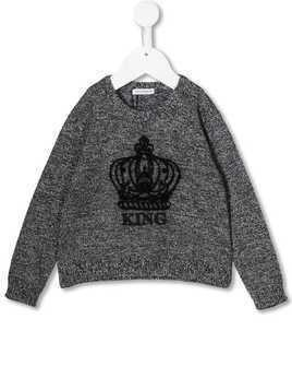 Dolce & Gabbana Kids crown embroidered sweater - Black