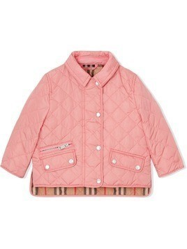 Burberry Kids diamond quilted jacket - Pink