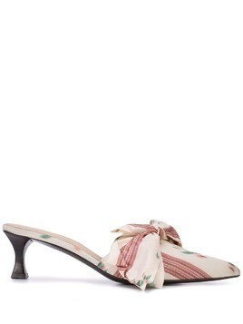 Brock Collection floral striped mules - White