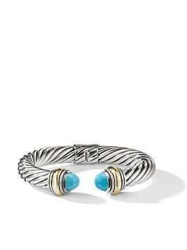 David Yurman Cable Classics 14kt gold detailed and turquoise 10mm cuff - S4BTR