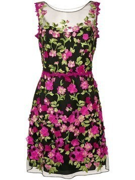 Marchesa Notte floral appliqués fitted dress - Black
