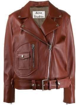 Acne Studios boxy biker jacket - Brown