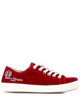 Maison Margiela Tabi velvet sneakers - Red