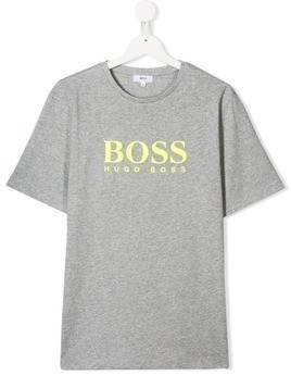 Boss Kids TEEN logo print T-shirt - Grey