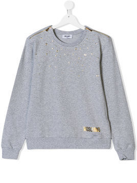 Moschino Kids star studded sweatshirt - Grey