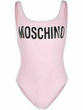 Moschino logo-print scoop-back swimsuit - PINK