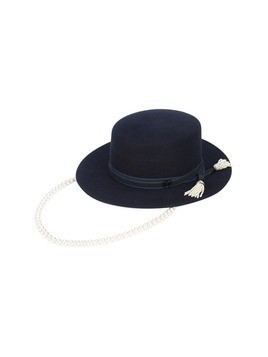 Maison Michel wide brim hat with hanging pearl chain - Blue
