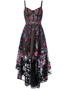 Marchesa Notte floral embroidered high-low dress - Black