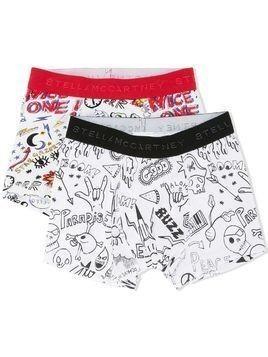 Stella Mccartney Kids pack of two printed boxer shorts - White