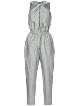 Ck Calvin Klein yarn dyed fluid stripe jumpsuit - Black