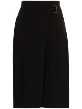 Helmut Lang knitted wrap midi skirt - Black