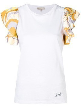 Emilio Pucci White Frill Sleeve T-shirt