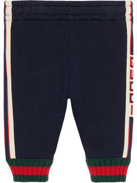 Gucci Kids Baby pant with Gucci jacquard trim - Blue