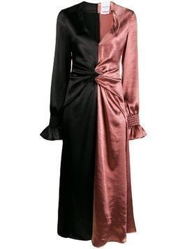 Black Coral metallic-effect color-block gathered dress