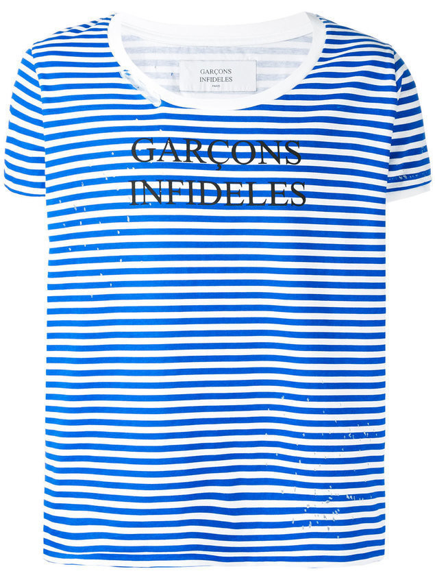 Garcons Infideles striped logo T-shirt - Blue