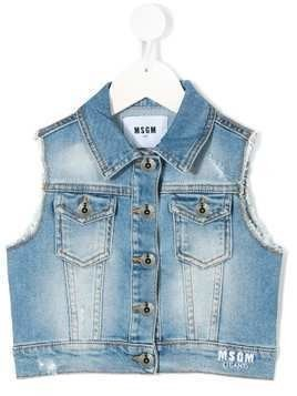 Msgm Kids embroidered logo denim gilet - Blue