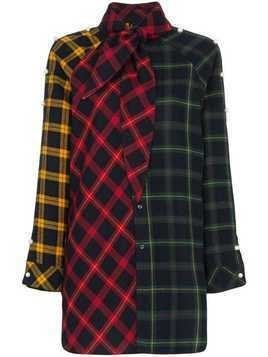 Blindness contrast tartan shirt - Red