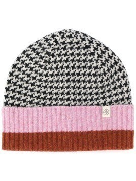 Mulberry Brushed Houndstooth Beanie - Grey