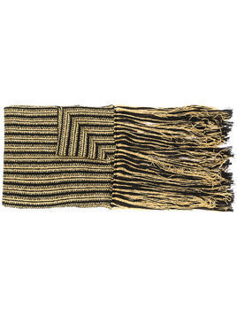 Saint Laurent striped knit fringed scarf - Metallic