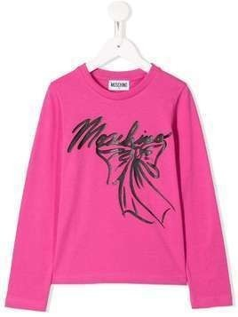 Moschino Kids bow logo sweatshirt - Pink
