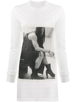 Rick Owens DRKSHDW printed long sleeved T-shirt - White