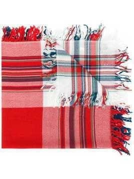 Burberry check fringed scarf - Red