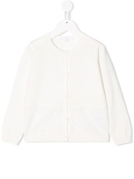 Chloé Kids logo embroidered cardigan - White