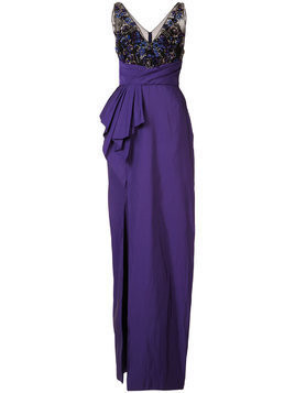 Marchesa Notte embellished pleated waist gown - Purple