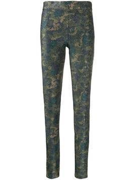 GANNI camouflage lurex leggings - Green