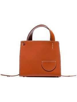 Danse Lente brown Margot outer pocket leather tote bag - Orange