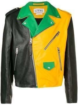 Loewe colour-block leather jacket - Black