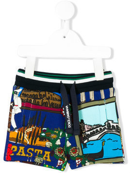 Dolce & Gabbana Kids Tour of Italy print shorts - Blue