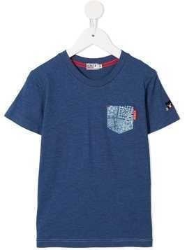 Miki House paisley patch pocket T-shirt - Blue