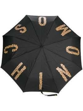 Moschino teddybear logo print umbrella - Black