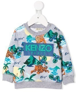 Kenzo Kids tropical print sweatshirt - Grey