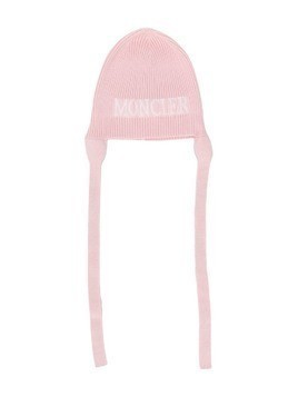 Moncler Kids logo patch knitted beanie - PINK