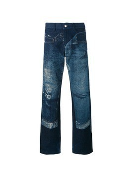 Jean Paul Gaultier Vintage trompe l'oeil printed denim trousers - Blue